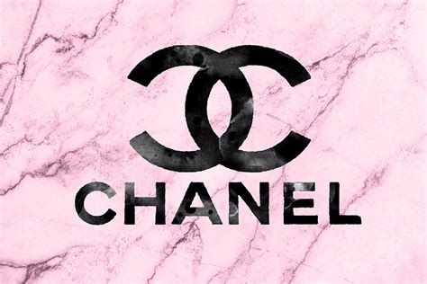 Channel Pink chanel logo pink marble mixed media by