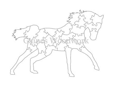 horse color pattern crossword handmade scroll saw puzzle template digital by gaineswoodwork