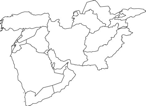 middle east map to color middle east outline map geography outlines