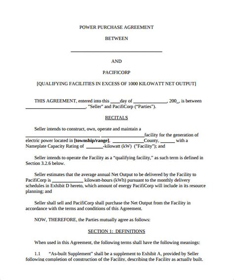 solar power purchase agreement template 8 sle power purchase agreements sle templates