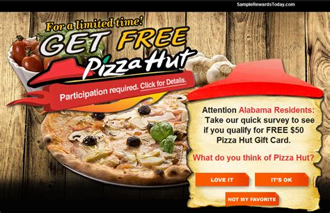 Pizzahut Gift Card - get a free 100 pizzahut gift card facebook scam