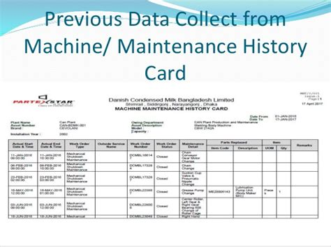 machine history card template inplimentation of oracle eam