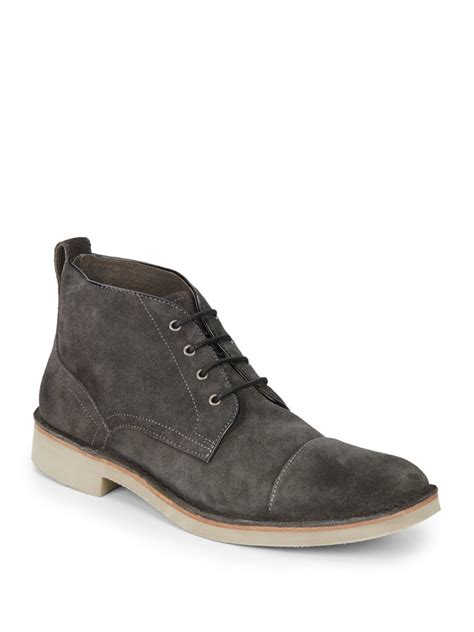 varvatos suede chukka boots in gray for lyst