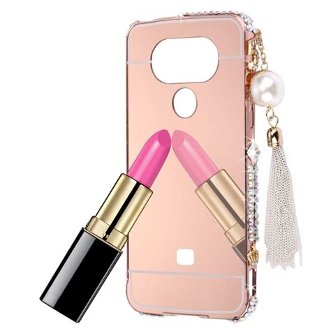 Lg G5 Luxury Mirror for lg g5 luxury mirror pc back bling 3d pearl chain pendant cover for lg g4
