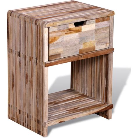 reclaimed wood bedside table reclaimed teak wood bedside table w drawer shelf buy
