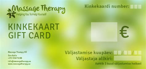 Massage Therapy Gift Cards - gift cards massage therapy o 220 massage in tartu