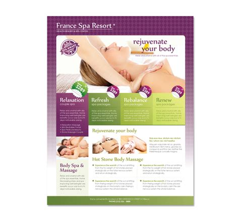 Templates For Massage Flyers | beauty spa massage resort flyer template