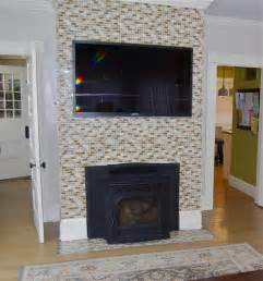 diy tile wall and fireplace mantel tip junkie
