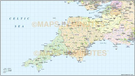 map of south west south west county map with regular relief