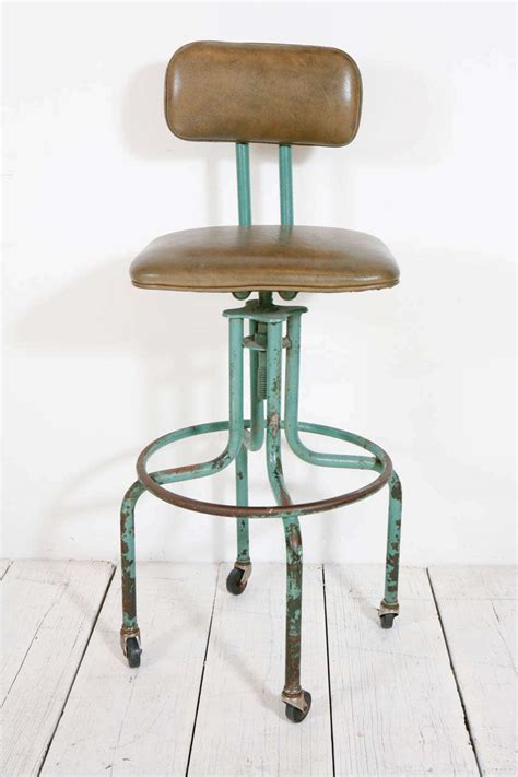 Workshop Stool With Wheels by Vintage Green Workshop Stool With Nailhead Leather Seat