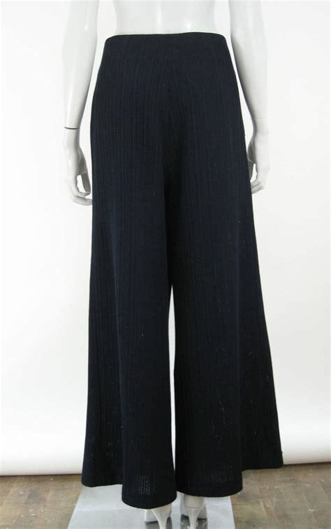 wide leg knit chanel navy blue wide leg knit trousers for sale at