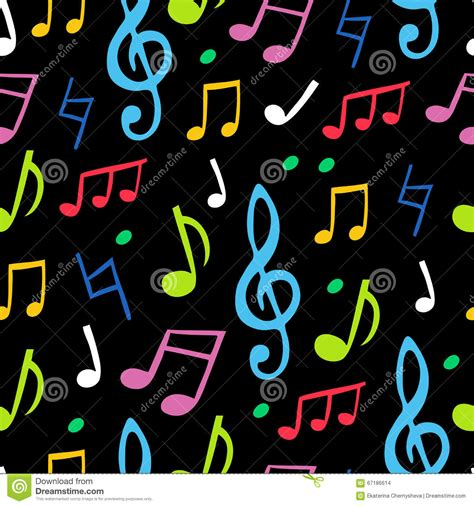 dark color musical notes vector seamless vector pattern of the colored musical notes stock