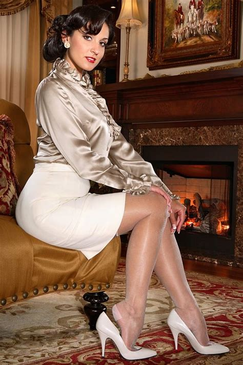 secrets in lace secrets in lace satin blouse pencil skirt stockings