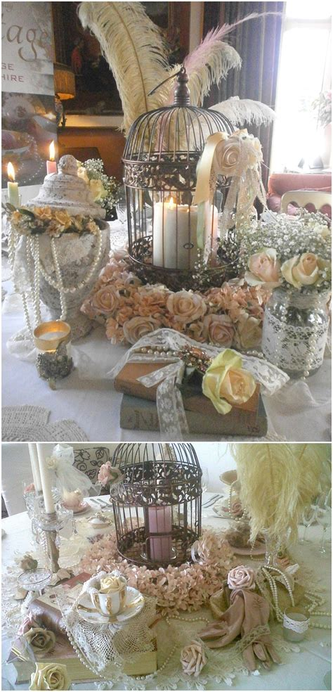 Picture Of a vintage cage with pilalr candles, feathers