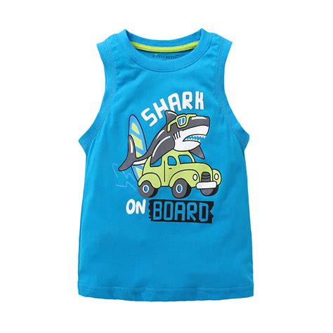 Tees With Vest baby boy vest children boy no sleeve t shirt shark blue vest 1 6 years kid boy