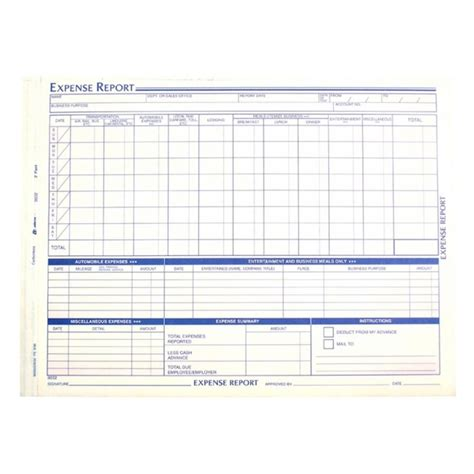 Office Supplies Expense Weekly Expense Report Forms 1 Pack Quickship