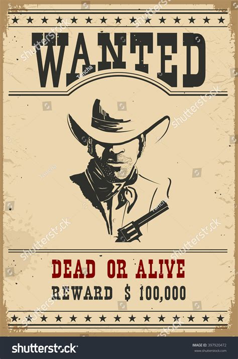 wanted posterwestern vintage paper design stock vector