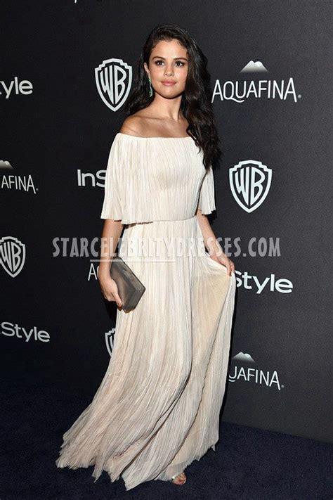 selena gomez elegant chiffon off the shoulder celebrity