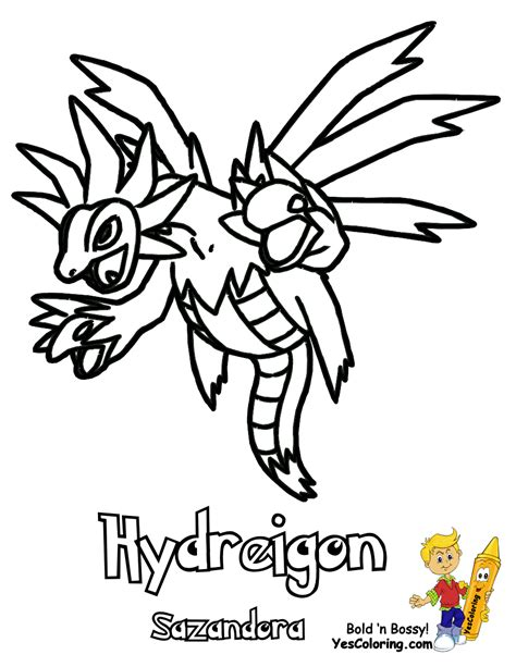 pokemon coloring pages hydreigon pokemon hydreigon coloring pages coloring pages