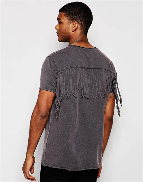Fringes Shirt asos longline t shirt with fringe back and acid wash in gray for lyst
