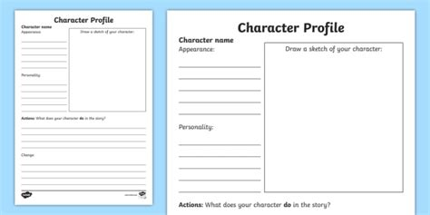 writing a description template character profile writing template characters writing