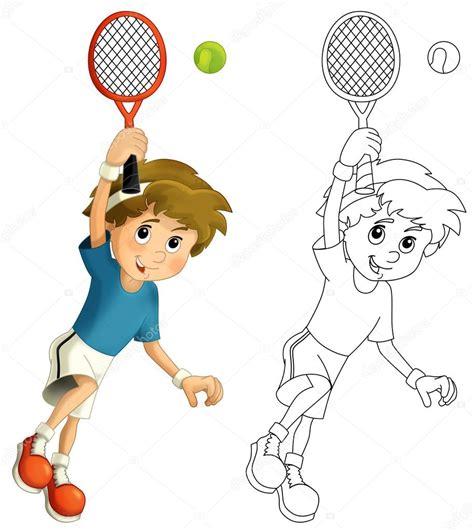 Dibujos De Niños Jugando Tenis | ni 241 o jugando tenis saltando con raqueta de tenis foto