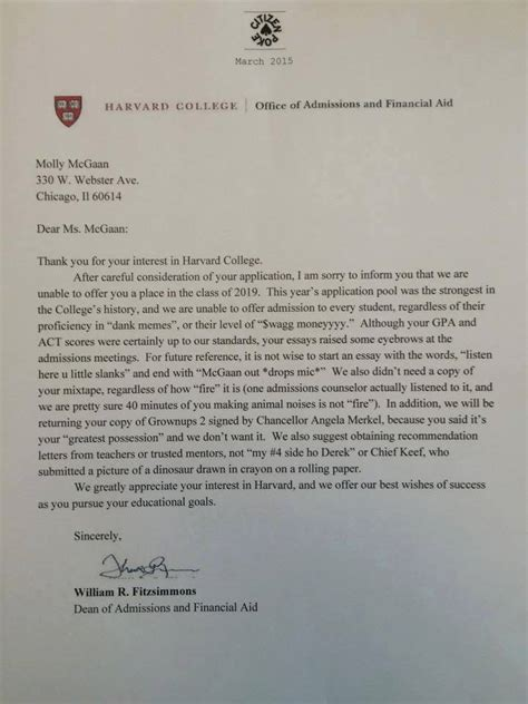 Rejection Letter Indeed harvard rejection letter is all of us