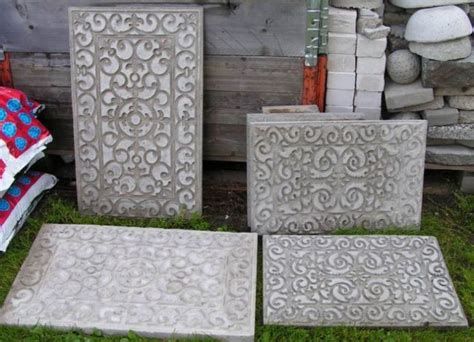 diy concrete slabs molded with rubber door mats cool