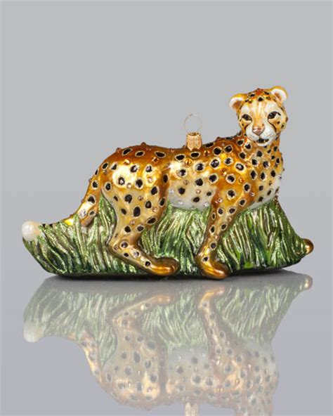 jay strongwater cheetah christmas ornament