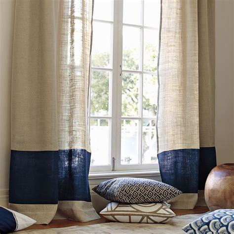 Panel Curtain Ideas Inspiration Color Block Window Panel In Navy So Simple So Effortlessly Chic Serenaandlily Master