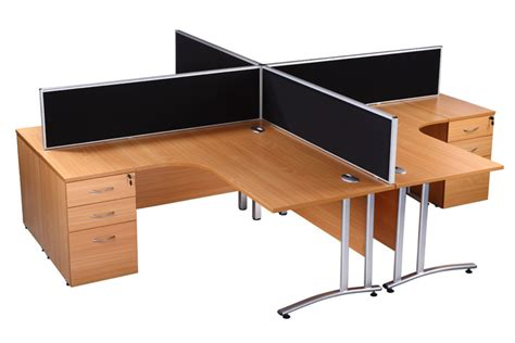 four person office desk block of 4 radial desks and desk high pedestals office