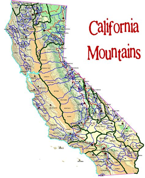 california map mountains