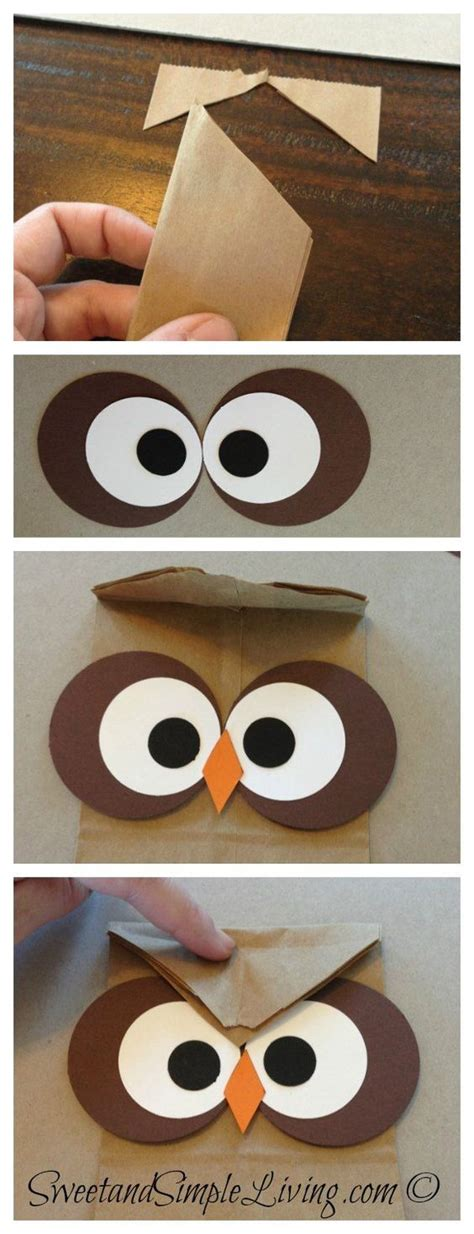 easy owl crafts for owl crafts easy treat bag for crafts