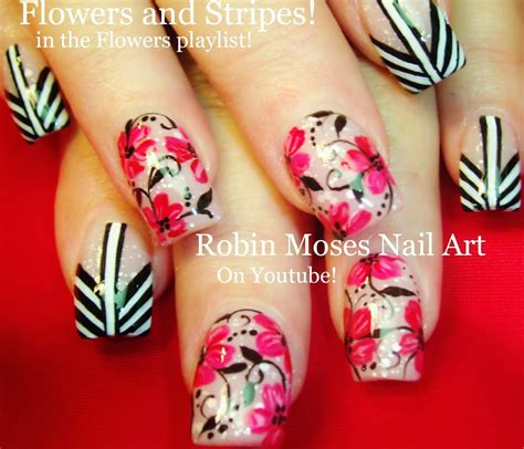 tutorial floral design robin moses nail art spring flower nail art design hace
