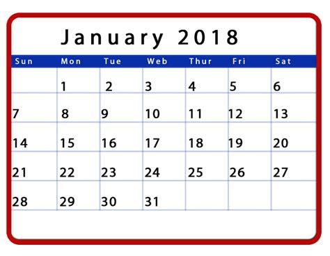 printable january 2018 calendar cute january 2018 calendar cute calendar template letter