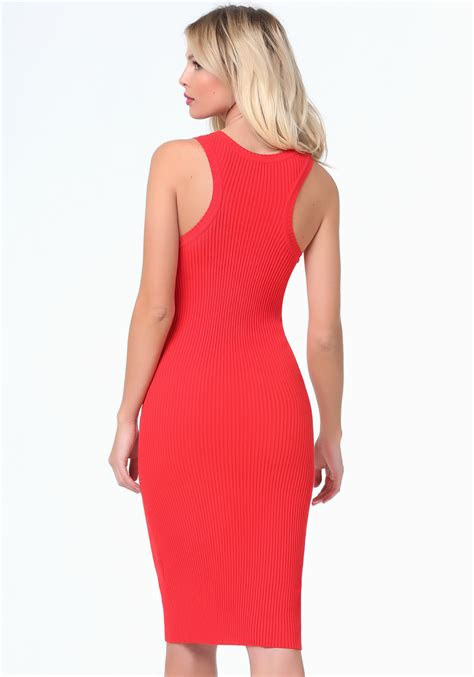 Bebe Dress 9 bebe logo ribbed zip midi dress in lyst