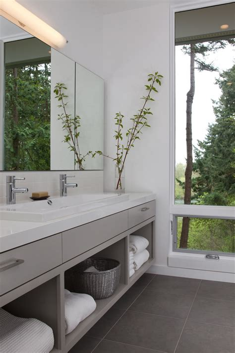 Vanity Shelves Bathroom 15 Exles Of Bathroom Vanities That Open Shelving Contemporist