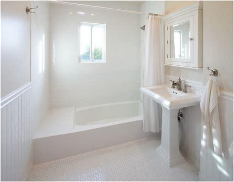 White Wainscoting Bathroom Bathroom Contemporary Los Angeles Beadboard Hexagon Tiles