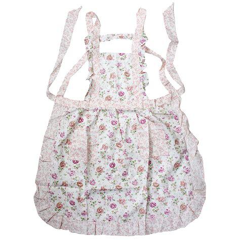 pattern bib apron women ladies flower pattern kitchen bib pocket lace home