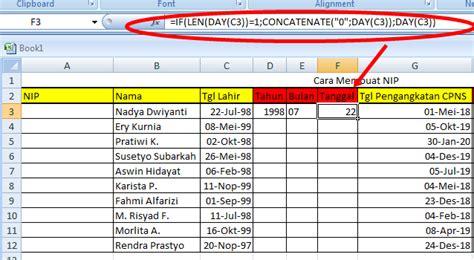 membuat form tanggal lahir html cara membuat nip di excel