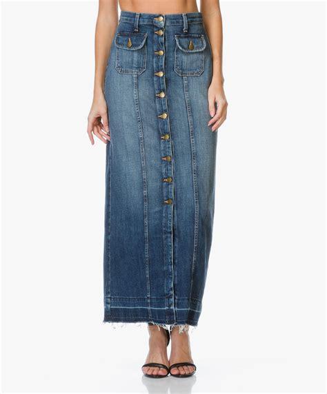 Rok Denim Maxi Skirt Naura Skirt shop the look cool and feminine ensemble perfectly basics