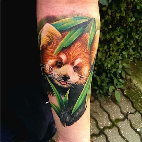 red panda tattoo panda grass on lower back