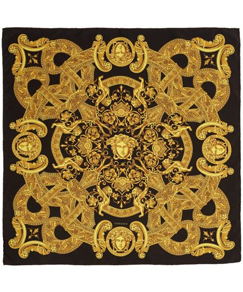 gold versace pattern versace black and gold silk scarf in yellow black lyst