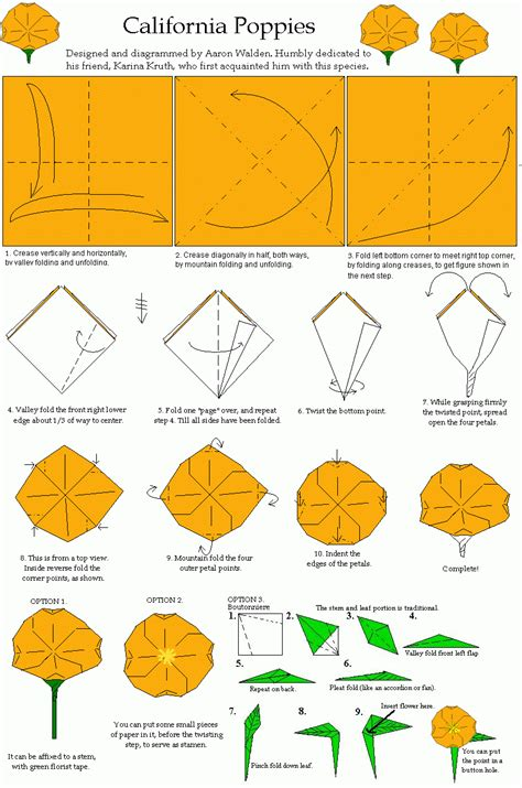 origami poppy california poppy origami diagram origami flowers