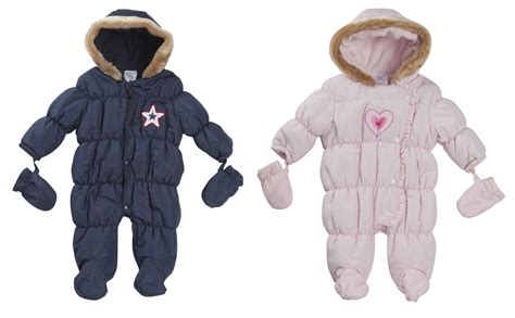 Baby Coat baby boys hooded snowsuit quilted pramsuit all in