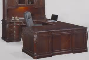 mahogany u shaped desk with carvings file drawers power