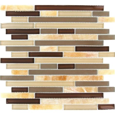 Ms International Honey Caramel Interlocking 12 In X 12 In Home Depot Mosaic Backsplash