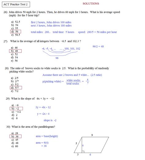 act worksheets math plane act practice test 2