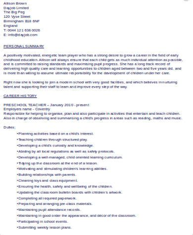 Preschool Resume by 6 Sle Preschool Resumes Sle Templates