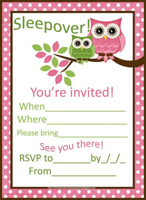 downloadable invitations uk sleepover invitations for girls cute pink owls sleepover